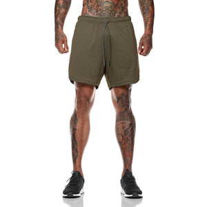 F-Men's 2 in 1 compression running workout army green shorts with phone pocket