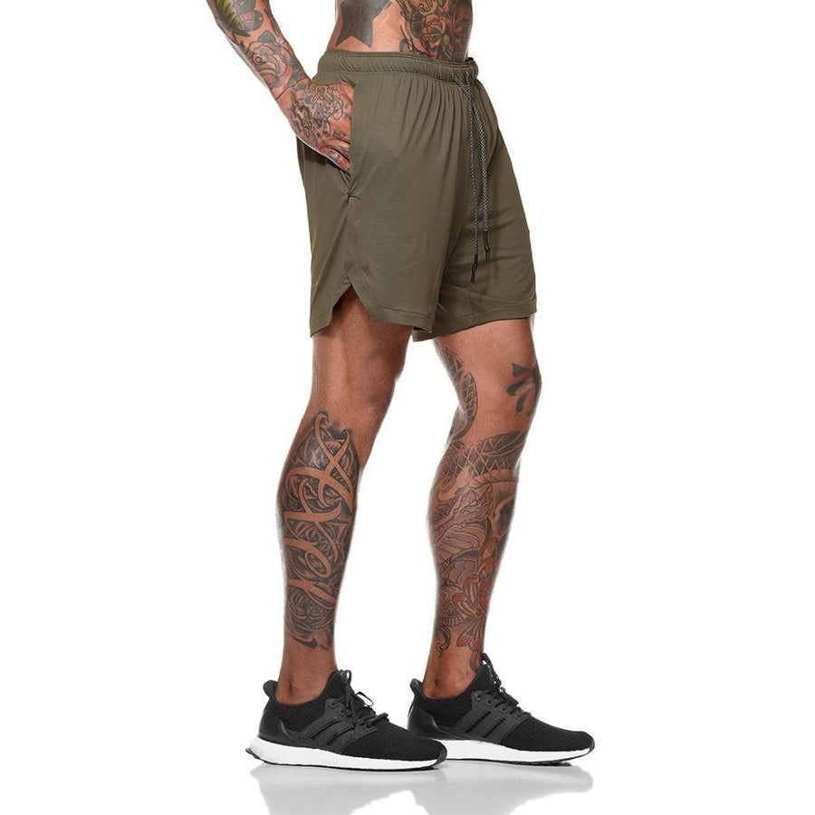 Men's 2 in 1 compression running workout army green shorts with phone pocket