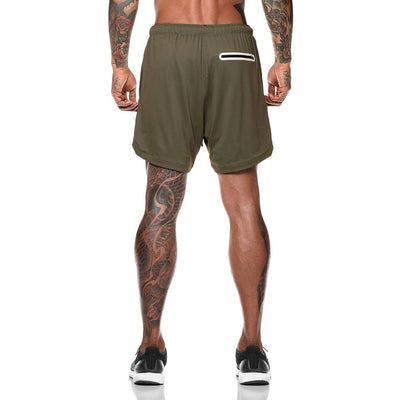 B-Men's 2 in 1 compression running workout army green shorts with phone pocket