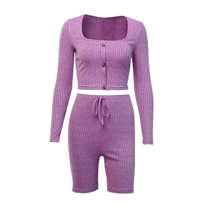 2019 Sexy Women Pink Slim Knitting Sexy Workout Set
