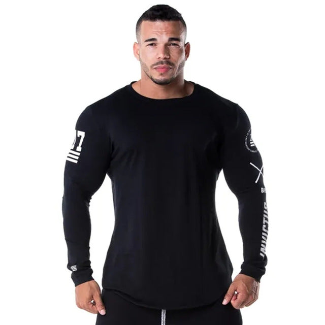 Men's Long sleeve BodybuildingTraining Running Sports Black Tee Tops plus size xxl