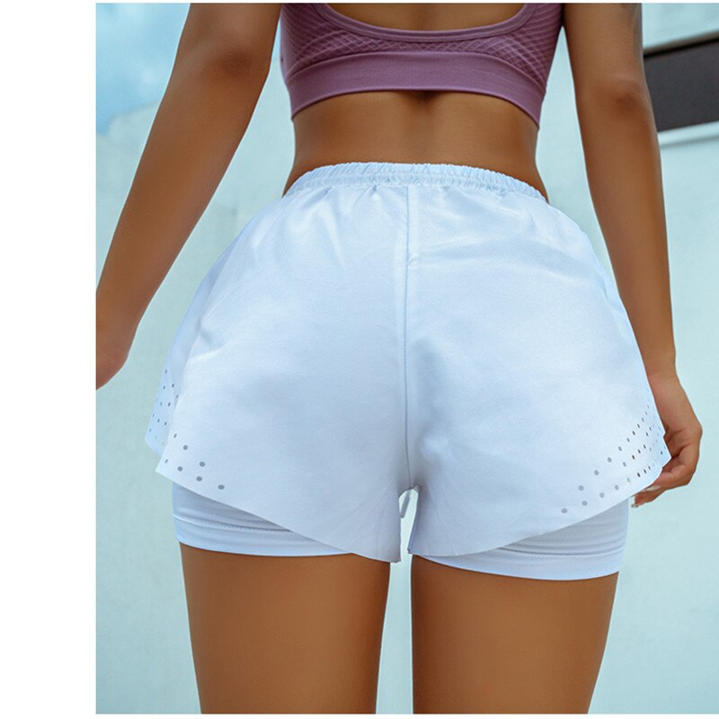 Mermaid curve 2-in-1 Women's Running Shorts with Waist Rope