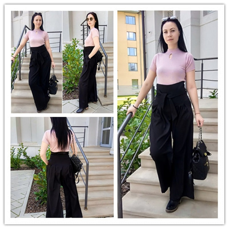 Black Self Belted Box Pleated Palazzo Long Pants