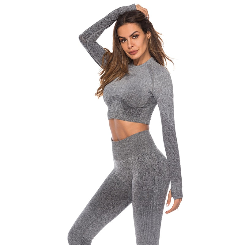 Fashion Long Sleeve Lady Compressed Workout Shirt+Pant  Suit