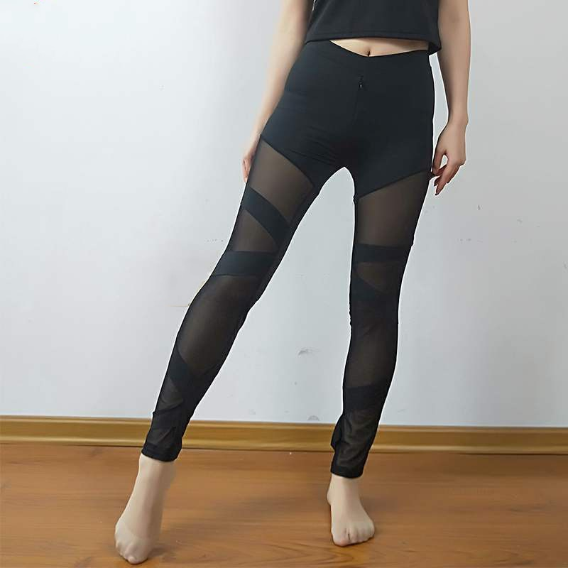High Waist Mesh Push Up Workout Black Leggings