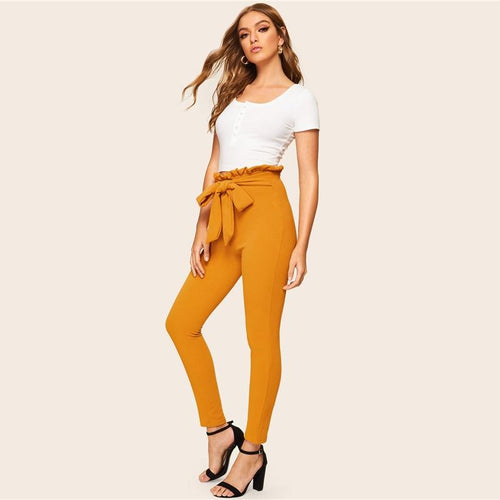 Women Paperbag Waist Skinny Pants With Belt
