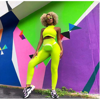 Sleeveless Crop Top Long Pants Activewear Set