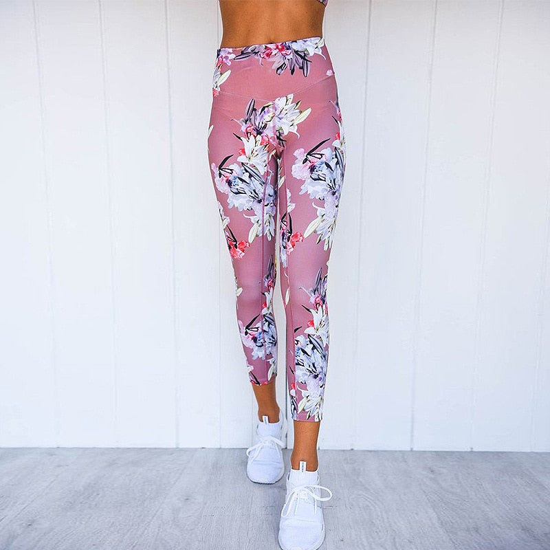Summer Wicking Fitness Flower Print Ladies Workout Set