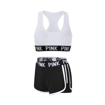 Women's running shorts with sports bra set