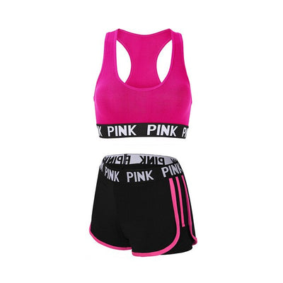 Women's running shorts with sports bra rose set