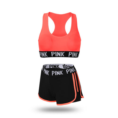 Women's running shorts with sports bra orange set