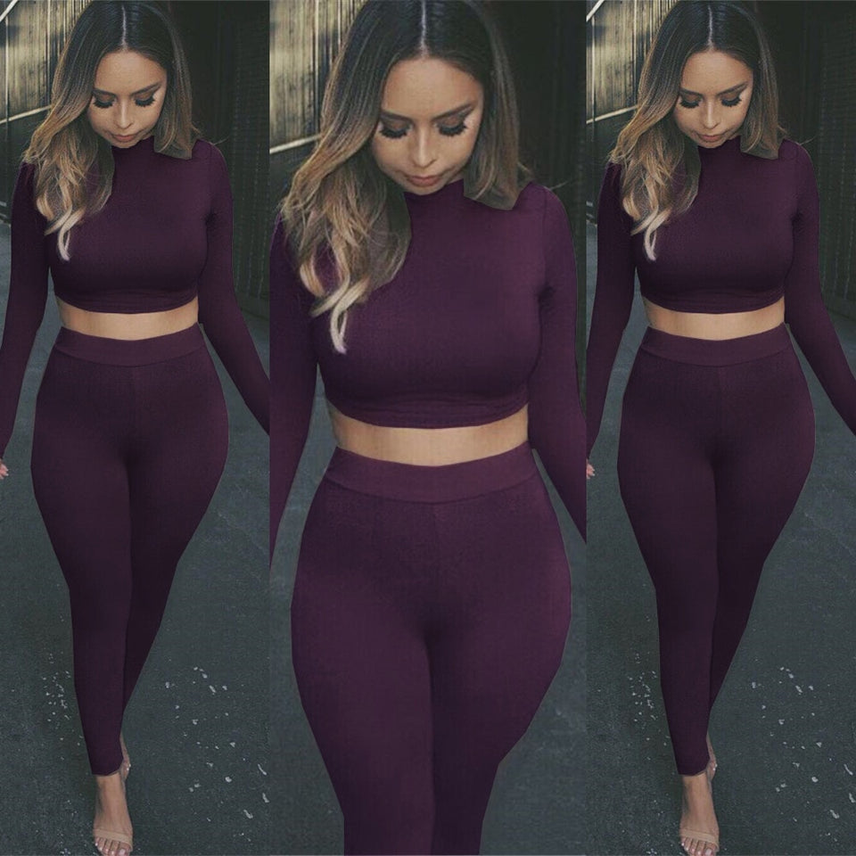 New 2019 Spring Women Sexy Two Pieces/Set Solid Long Sleeve Crop Tops and Legging Pants Autumn Female Casual two pieces Suits