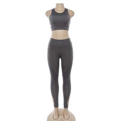 Women Hollow Out Breathable Shockproof Crop Tops And High Waist Tight Leggings