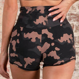 High waisted camo shorts women's with front zipper crop top set