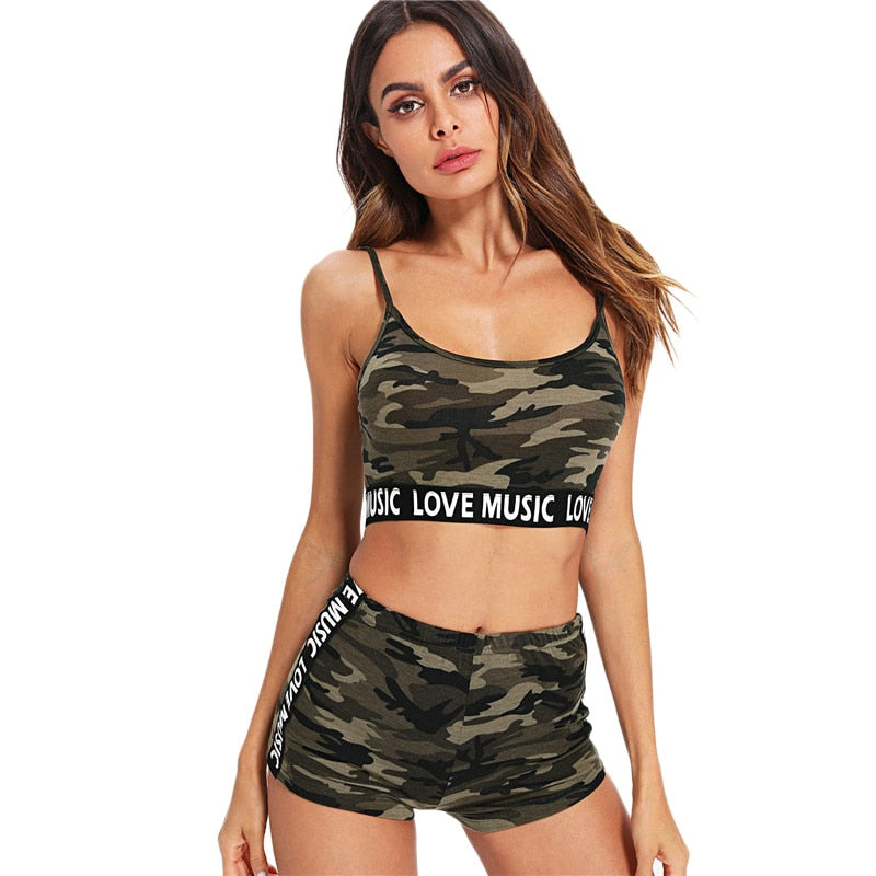 Women's camo crossfit shorts +Spaghetti Strap Backless tops Set