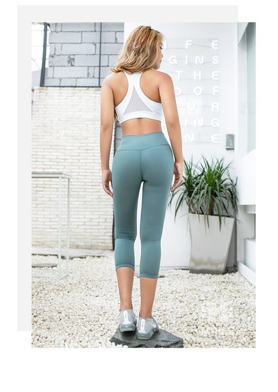 Soft tummy control Thick cropped yoga pants