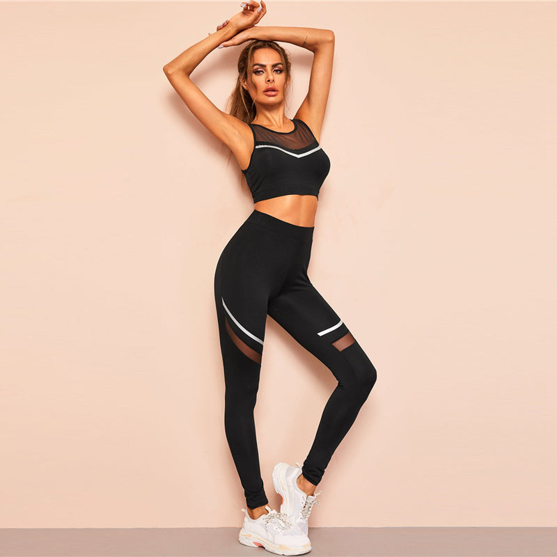 Black Mesh Insert Striped Sports Bra and Leggings Set