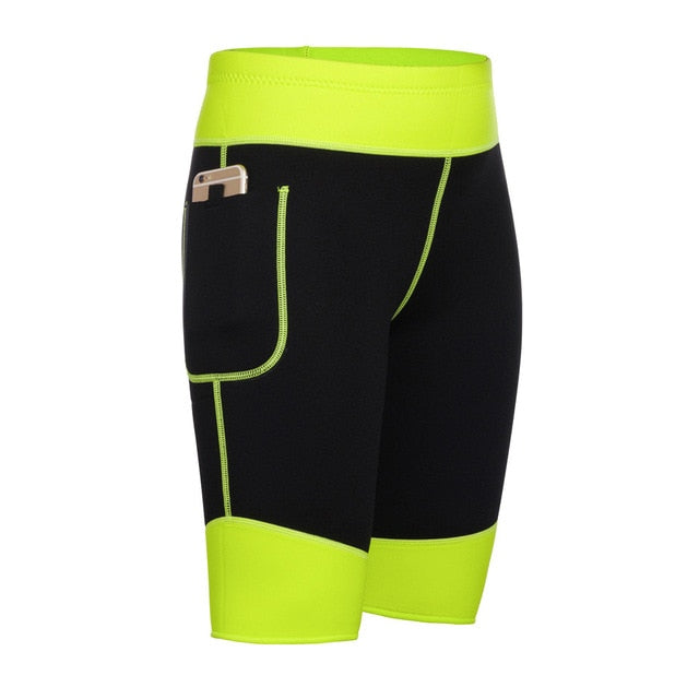 green Plus size Slimming neoprene shorts womens workout bottoms