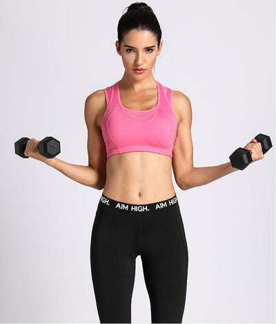 Women's High Impact Support Workout Racerback Wirefree Sports Bra Top