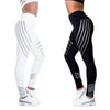 Women Black/white striped Stretch Yoga Pants