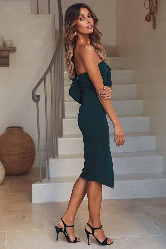Women's Ruffles Skinny Solid One Shoulder V Neck Bandage Bodycon Dress