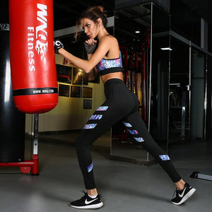 Bra+Leggings Printed Stripes Women's Yoga Sets