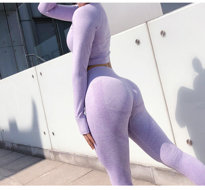 Seamless Long Sleeve Crop Top And Scrunch Butt Yoga Leggings 2 Pcs Set