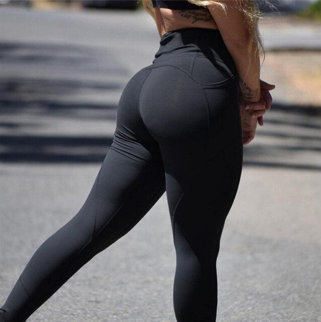 Women High Waist Elastic Plus Size Bodybuilding Pants