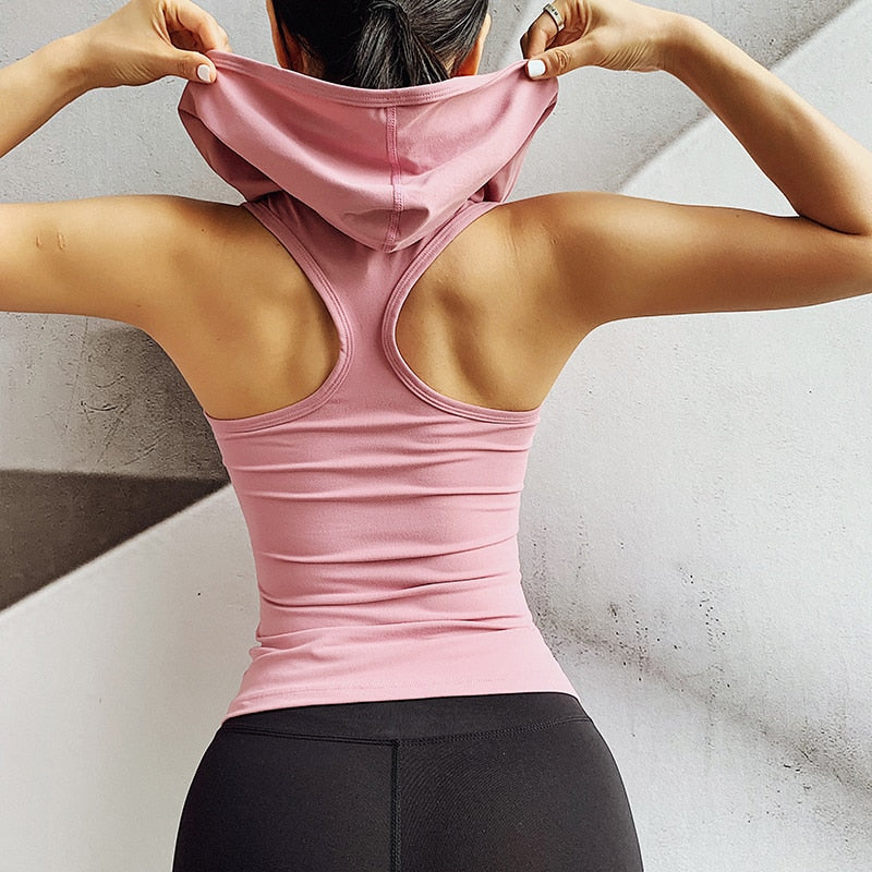 2019 New Front Zipper Hooded Women Slim Tank Tops For Fitness