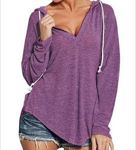 Fashion Women Casual Hooded Loose  Long Sleeve V-neck Cotton Solid Casual Tops T-Shirt
