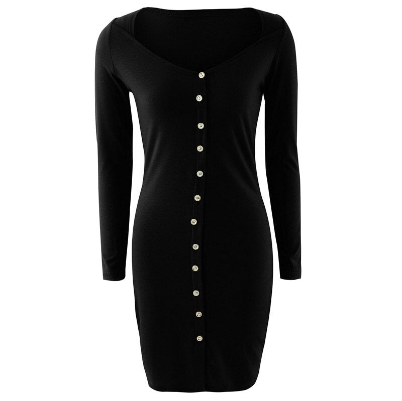 Streetwear Button Decor Square Collar Long Sleeve Solid Mini Dress