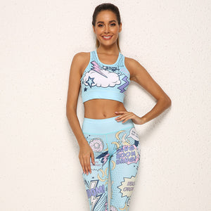 Women Cartoon Yoga Set S-XL