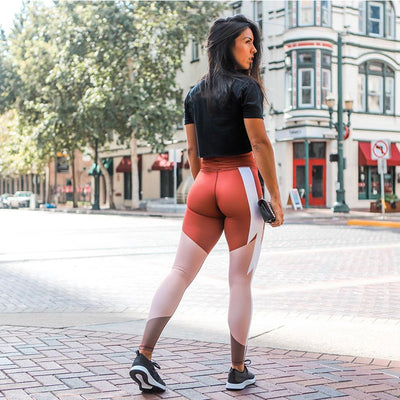 Orange Sporting Fitness Pants High Waist Push Up Workout Leggings