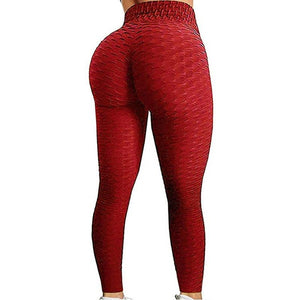Red-Black/ High Waist Push up Anti Cellulite Leggings