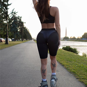 1-Women's High Waist running black shorts with pocket