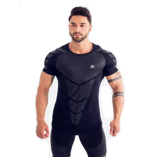 black-Men's Compression running T-shirt Workout Tee Tops