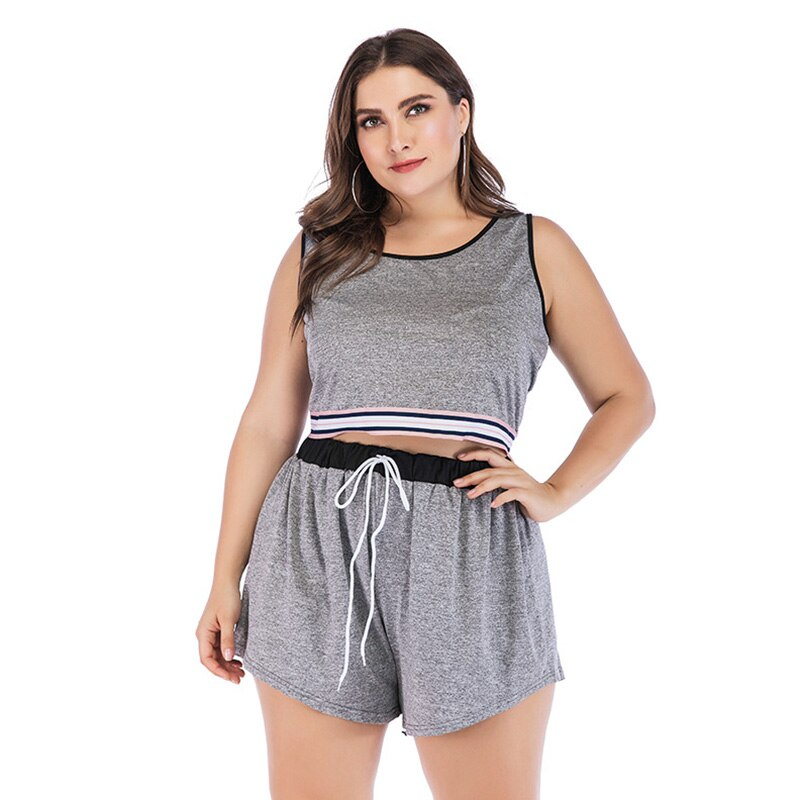 Fashion striped stitching casual breathable Plus size women's yoga shirt set
