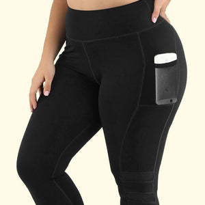 XL-4XL Women's Plus Size black Yoga Pants Push Up High waisted Pocket Tights