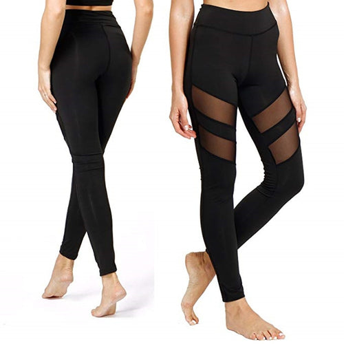 Black Mesh Push Up Yoga Leggings