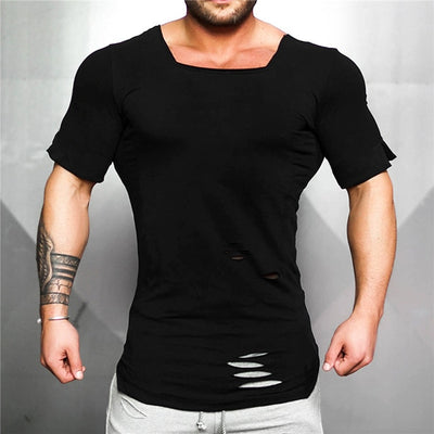 black/Men's fitness T shirt Vintage Ripped Hole