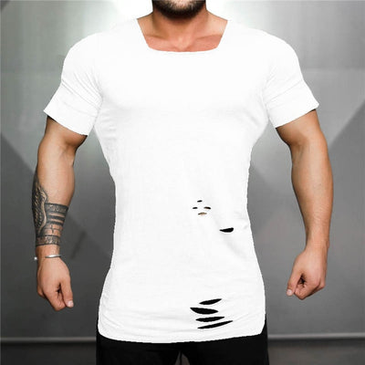 white-Men's fitness T shirt Vintage Ripped Hole