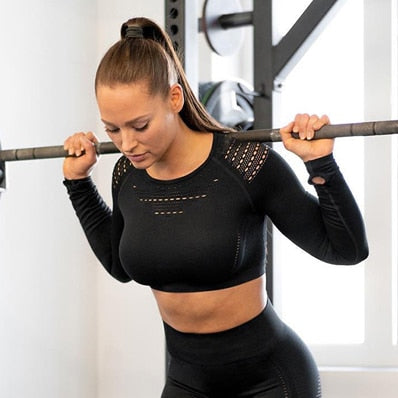 Seamless Long Sleeve Top +  Padded Push-up Strappy Pants