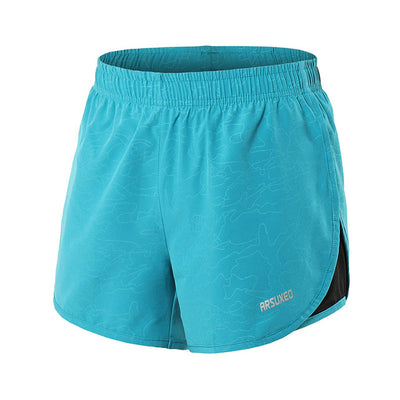 Lake blue-Women's 2 in 1 running shorts with Back Zipper Pocket