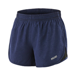 Dark blue-Women's 2 in 1 running shorts with Back Zipper Pocket
