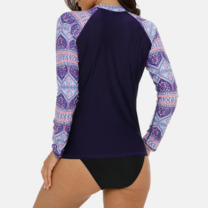Women's Long Sleeve Rashguard Floral Print Swimwear