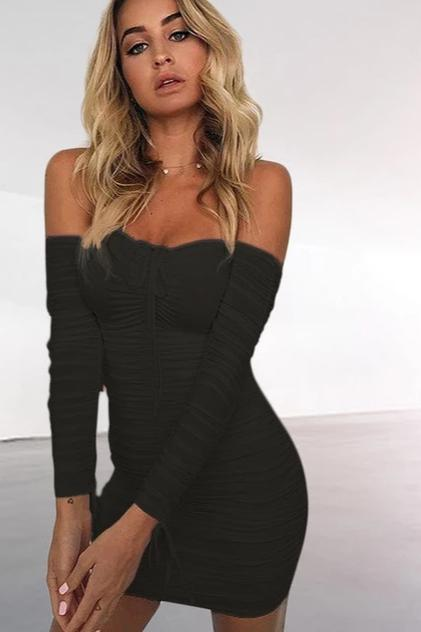 Off Shoulder black bodycon dresses with long sleeves