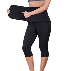 Female Push Up  Training Black Capri Leggings With Belt