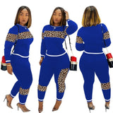 Women's plus size activewear outfits Long Sleeve Pullover Tops Sweatshirt +Long Pants Outfit Sets