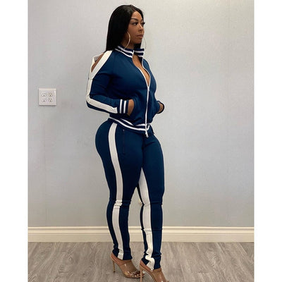 Women's activewear outfits blue front zipper jacket + jogger pants zipper