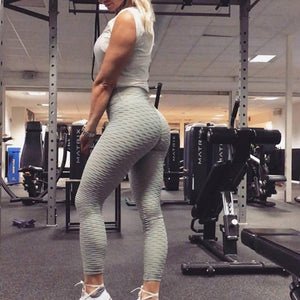 Blue Push Up High waisted anti-cellulite leggings